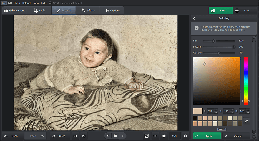 Colorize your B&W photo